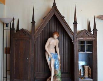 Sale Large Shrine Reliquary Religious Cabinet Altar Curio Cabinet