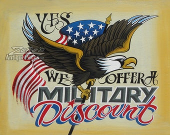 Military Discount Patriotic Shop Print, support our troops, Tattoo Shop , thank a vet