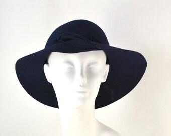 1960s Dark Blue Felted Wool Brimmed Hat by Junior Seasons, Wool Sun Hat
