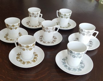 Set of 7 MOSA Maastricht Demitasse and Saucers with Graphic Rose Pattern