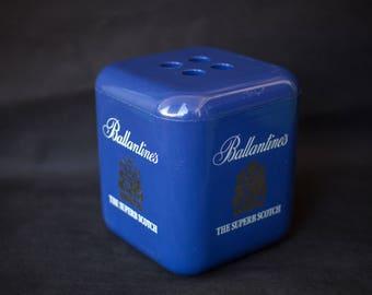 Ballantines Scotch whisky advertising, ice bucket vintage bar decor, ice cube shape, made in italy, aperitif, icebucket, barware