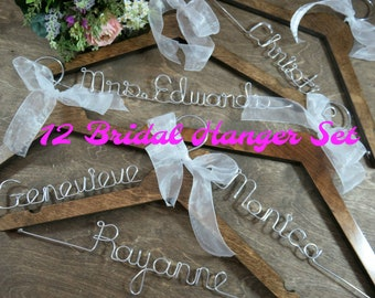 Bridal Party Hangers Personalized Hangers Bride Hangers Wedding Dress Hangers Bridal Accessories Bride Wire Hanger Bride Coat Hangers