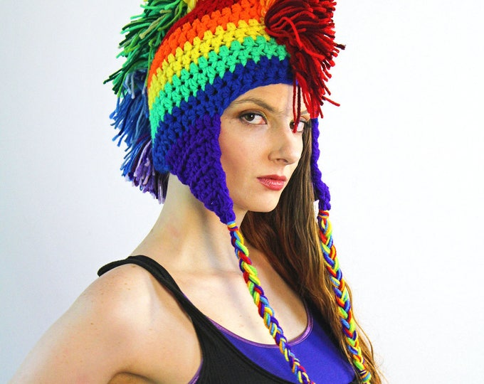 Rainbow Mohawk Ear Flap Beanie Hat Handmade Fall or Winter Christmas Gift For Kids Teens and Adults  LGBTQ Pride Parade Novelty Beanie Cap