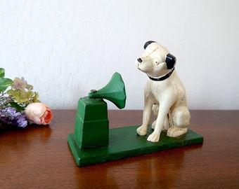 Nipper Dog Cast Iron Bank, RCA Victor JVC Mascot Dog Nipper, Vintage Nipper Dog Bank, Victrola Phonograph, Gramophone