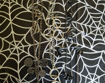 Necklace and earring set (coin necklace, bat necklace, metal rings necklace)
