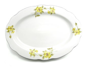 Vintage 1960's Large Sized Porcelain Platter/Serving Platter/Roast Platter/Seafood Platter with Yellow Flowers Made in China