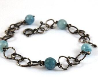 aquamarine silver bracelet, oxidized silver handmade chain bracelet