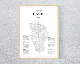 Paris map, Paris wall art, Wall Art, Paris print, Paris poster, Paris wall art, Black and White art, Map print, Paris Wall Map, Paris France