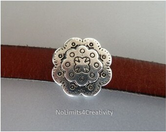 4 pieces - silver color flower beads 10mm flat leather - leather beads (MB54)