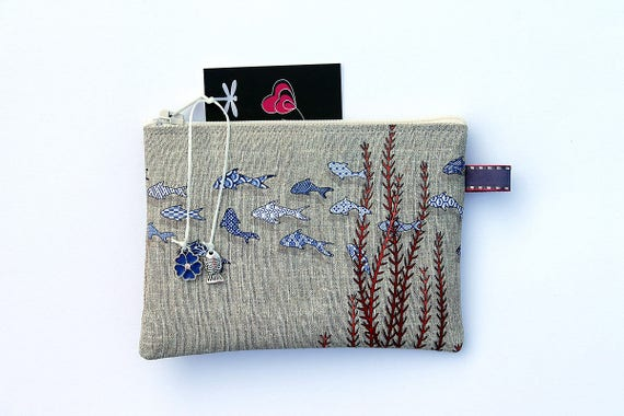 "Wallet linen illustrated ""Littles fihes azulejos"""