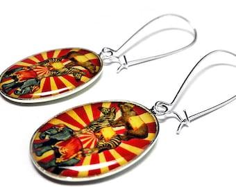 Circus Animal Carnival Earrings, Dangle Earrings, Under The Big Top, Vintage Circus, Elephant, Zebra, Bear