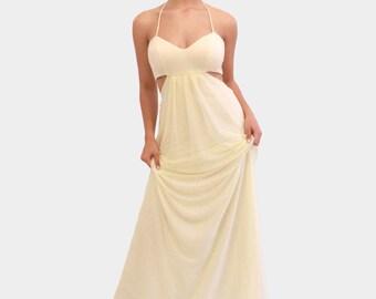 Maxi Dress, Long Dress, Bridesmaid Dress, Yellow Party Dress, Yellow Party Dress, Yellow Summer Dress, Cut Out Dress, Custom Dress, Boho