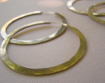 Brass Hoop Earrings - 2 inches wide continuous hoops