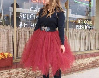 Burgundy Tulle Skirt Women's Tutu  Elastic Waist Tulle Skirt In Knee Tea or Long Wedding Skirt Bridesmaids Engagement Photos Bachelorette