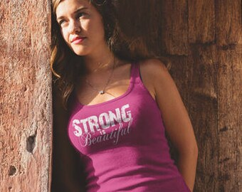 Workout Tank Womens Fitness Terry Tank Top - Strong Is Beautiful - ** More Colors Available ** (w)