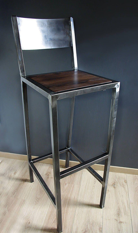 tabourets de bar design industriel fer et bois