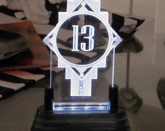 Illuminated Table Number with AAA battery light base