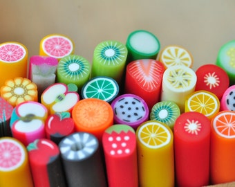50pcs Polymer Clay Fimo Cane Stick Assorted Mixed Sexy Nail Art Manicure Deco Earring Scrapbooking Design Kawaii Fruit Pattern 502001_1