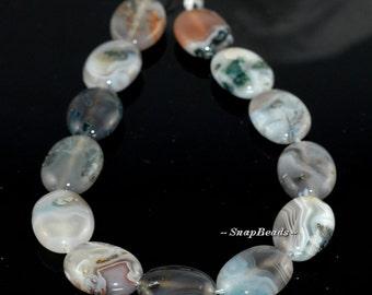 18x13mm Botswana Agate Moss Inclusions Gemstone Swirly Cream Green Oval Loose Beads 7.5 inch Half Strand (90164409-43)
