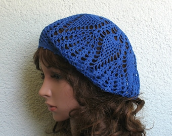Women's Crochet Summer beret Summer hat Cobalt Blue Cotton beret hat Women Summer hat Women Slouchy Beret Tam Hat