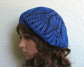Women's Crochet Summer beret Summer hat Cobalt Blue Cotton beret hat Women Summer hat Women Slouchy Beret Tam Hat