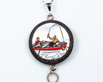 Gone Fishing Broken China Plate Pendant on Sterling Chain