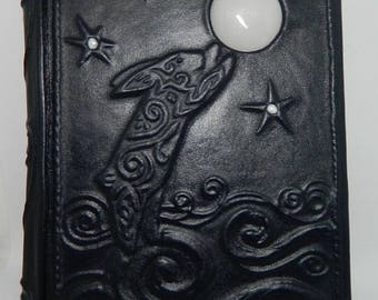 Handmade leather-bound journal Moon Rabbit
