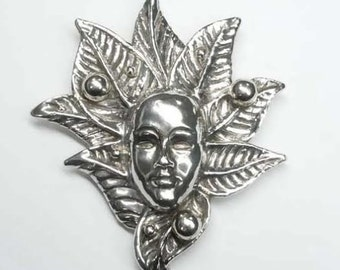 Mardi Gras Carnival Theater Face Leaf Mask Brooch 925 Sterling Silver