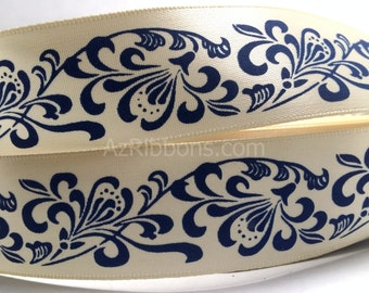 """Navy Blue Floral Design Pattern Satin Ribbon 1"""" Wide Scrapbook HairBows Parties DIY Projects 230"""