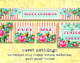 Custom Sweet Nothings, Shabby Aqua/Pink Floral Chic Etsy Shop Set, Includes Banner, Avatar, Reserved Listing, Away and Sale