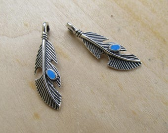 Pendant 40 x feather 11 x 3 mm silver metal inlaid with blue enamel.
