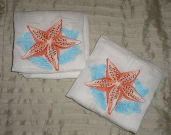 PAIR of Flour sack towels - Sea Life Splash - Starfish design - Embroidered Great Gift!