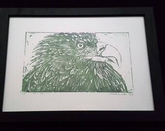 Eagle Head - Print from original woodcut by south-tyrolean artist Herbert Lampacher