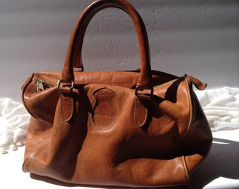 Vintage Genuine Leather Doctors Bag / Satchel /Top Handle Purse / UNISA