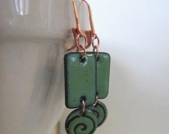 Enameled Earrings, Copper Earrings, Pea Green Copper, Enameled Copper, Green Spirals, Dangle Earrings, Copper Jewelry, Enameled Jewelry