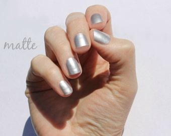 Solid Matte Silver Nail Wraps