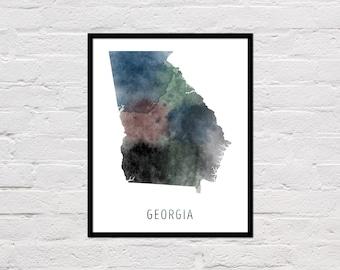 Georgia Map Print, Printable Georgia State Map, Georgia Art Print, Georgia Printable Wall Art, Watercolor Map, Georgia Poster, Download