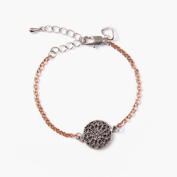 Stainless steel bracelet with dream catcher charm handmade in Montreal