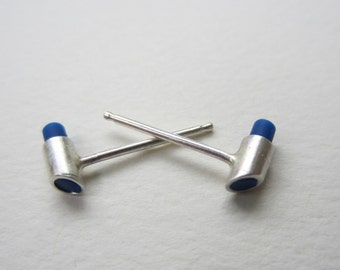 Color Tube Earrings tiny stud eco friendly silver modern hand fabricated