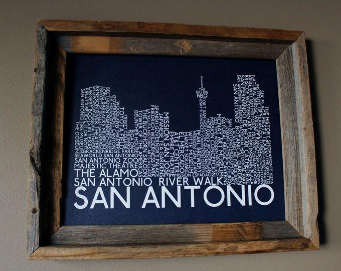 San Antonio Skyline Word Art Print (Dark Blue) - Unframed