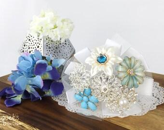 Wedding Brooch Bouquet, Broach Bouquet, Brooch Bouquet, Blue Silver Bouquet, Winter Bouquet, Bridal Bouquet, Something Blue, Button Bouquet