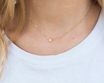 9ct Gold cz necklace - tiny cz - floating necklace - stacking necklace - cz bezel - zodiac necklace - necklace - layering necklace - I30975