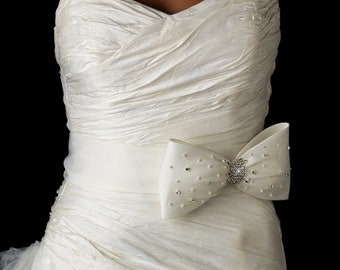 BBridal Pearl Wedding Crystal Bow Sash Belt