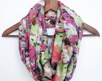 Silk Infinity Scarves For Women, Travel Gift, Floral Scarf, Colorful Scarf, Summer Scarf, Lightweight Scarf, Gift For Mom
