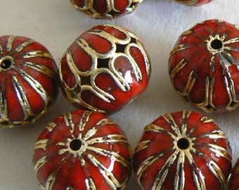 SALE 6 14mm Handmade Cloisonne Beads Ball Round Large Hole Light Weight Red Gold b2828