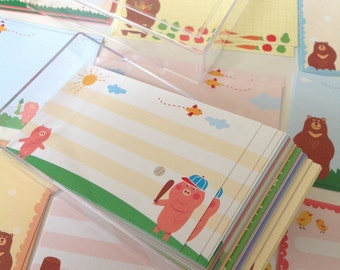 Message Cards - 96pcs Friendly pig bear bird family memo thank you scrapbooking Cards/Paper pack in one plastic box (Happy collection)