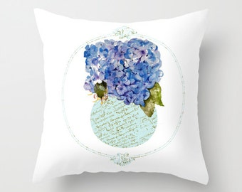 Outdoor Pillow Cover with Pillow Insert, Outdoor Pillow Cover,  Hydrangea Nosegay in French script vase