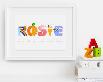 PERSONALISED NAME PRINT - Child name print - Baby name print - New baby - Nursery art print - Nursery decor