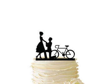 Proposal With Bike - Acrylic or Baltic Birch Wedding/Special Event Cake Topper - 074