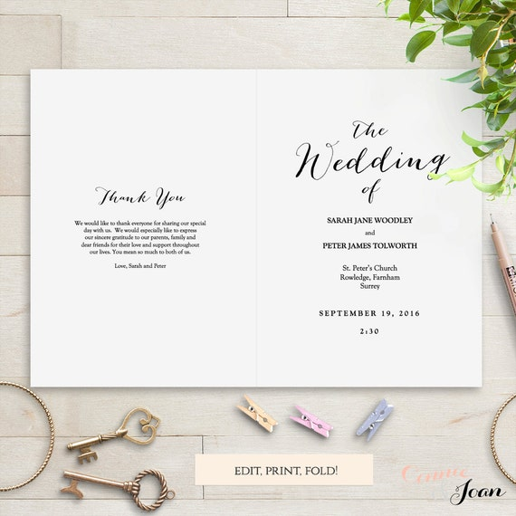 Folded Wedding Program Template Modern Sweet Bomb Edit